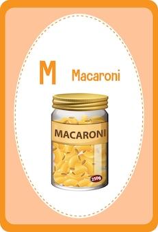 Flashcard alphabet avec lettre m pour macaroni