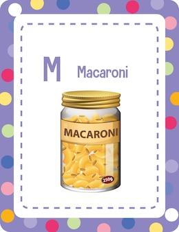 Flashcard alphabet avec la lettre m pour macaroni