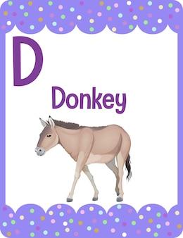 Flashcard d'alphabet avec la lettre d pour l'âne