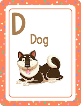Flashcard alphabet avec la lettre d pour chien