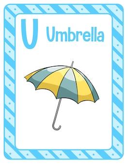 Flashcard alphabet avec la lettre u pour parapluie