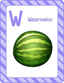 Flashcard d'alphabet avec la lettre w pour la pastèque
