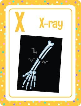 Flashcard d'alphabet avec la lettre x pour le rayon x