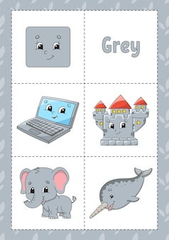 Flashcard d'apprentissage des couleurs pour les enfants