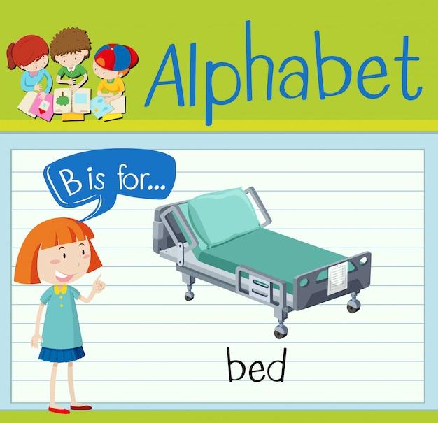 Flashcard lettre b est pour le lit