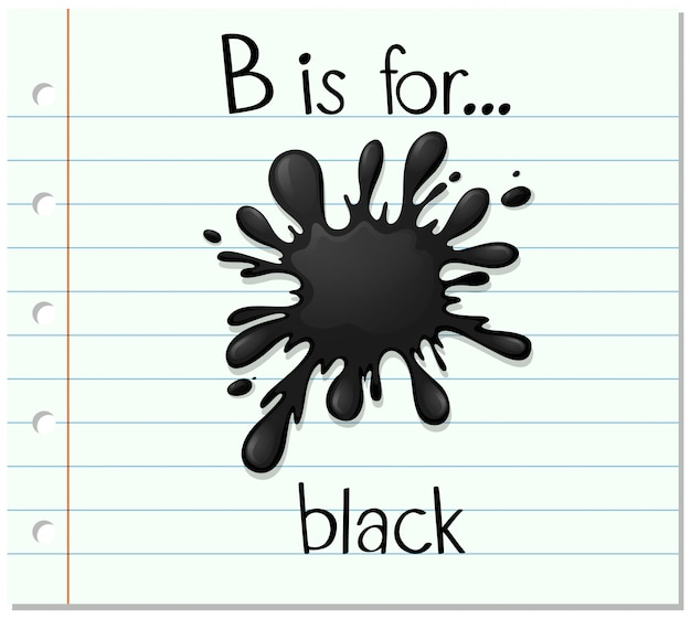 Flashcard lettre b est pour le noir