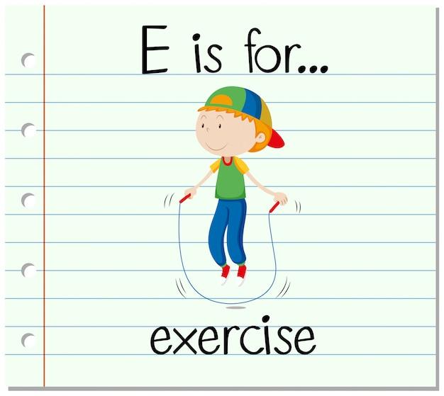 Flashcard lettre e est pour l'exercice