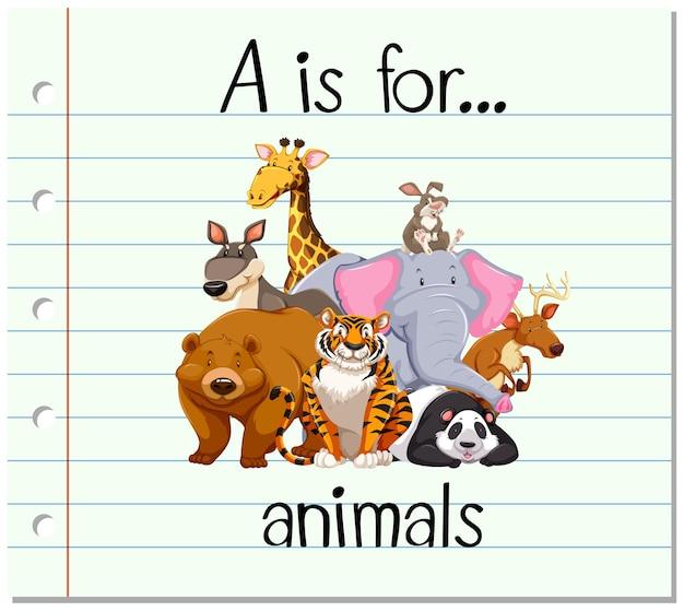 Flashcard lettre a est pour les animaux