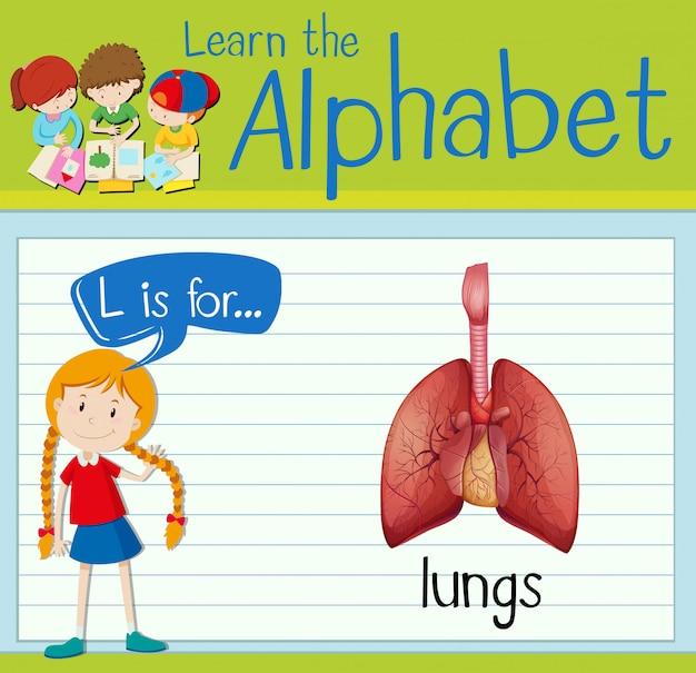 Flashcard lettre l est pour les poumons