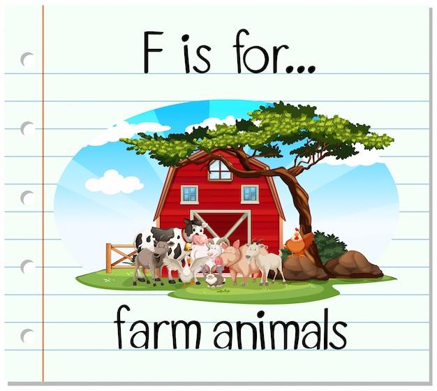 Flashcard lettre f est pour les animaux de la ferme