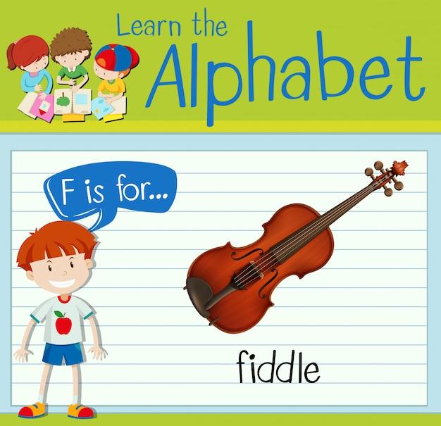 Flashcard lettre f est pour violon