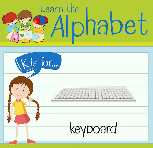 Flashcard lettre k est pour le clavier