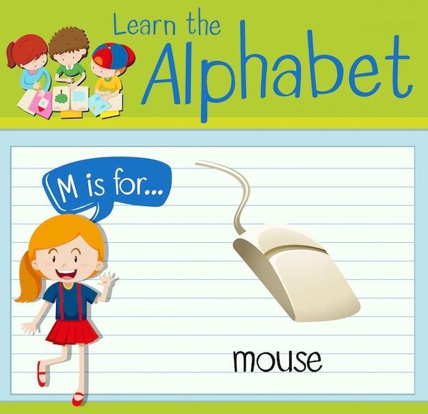 Flashcard lettre m est pour la souris