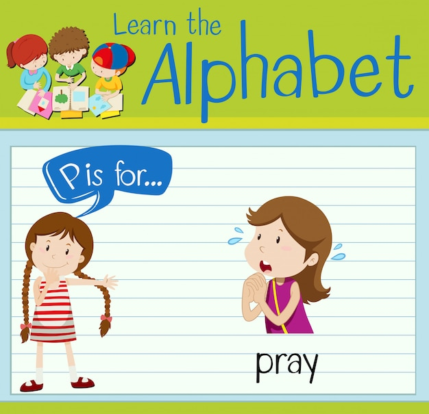 Flashcard lettre p est pour prier