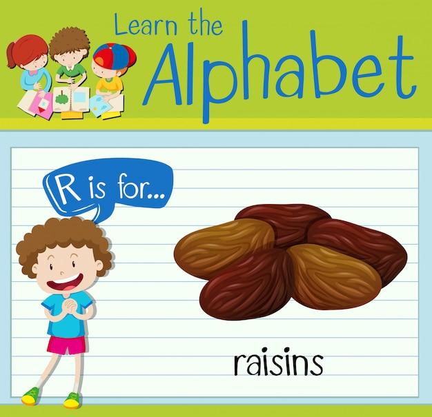 Flashcard lettre r est pour les raisins secs
