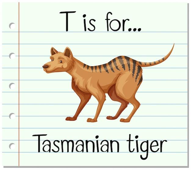 Flashcard lettre t est pour le tigre de tasmanie
