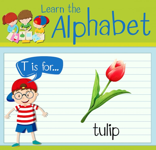 Flashcard lettre t est pour tulipe