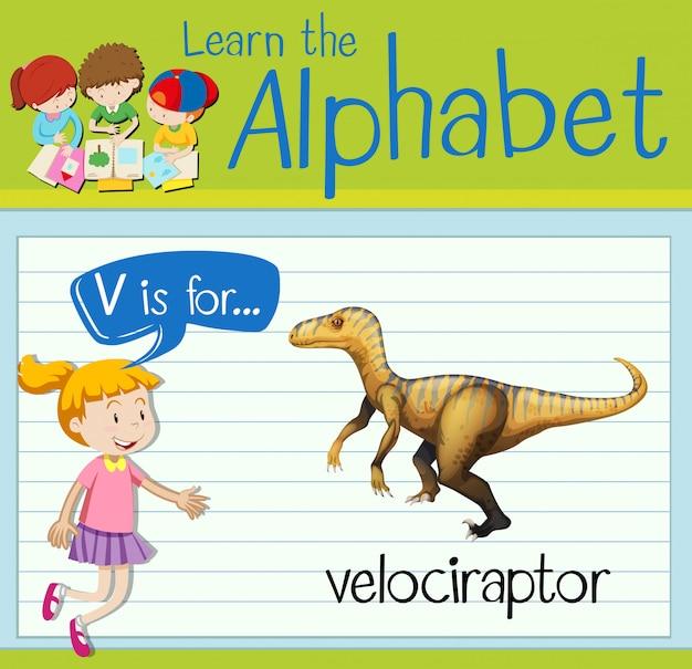 Flashcard lettre v est pour velociraptor