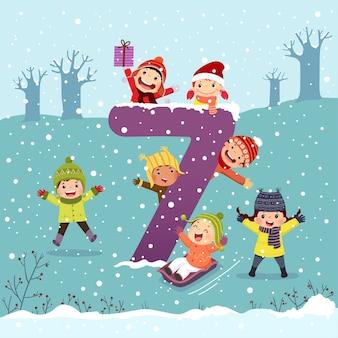Flashcard pour l'apprentissage de la maternelle et du préscolaire à compter le numéro 7 avec un certain nombre d'enfants.