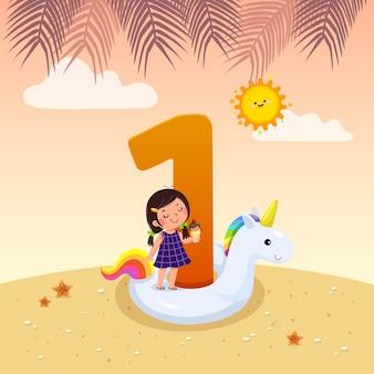 Flashcard pour la maternelle et le préscolaire apprenant à compter le numéro 1 avec un certain nombre d'enfants.