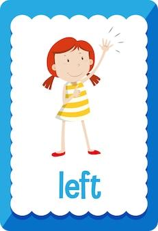 Flashcard de vocabulaire avec le mot gauche