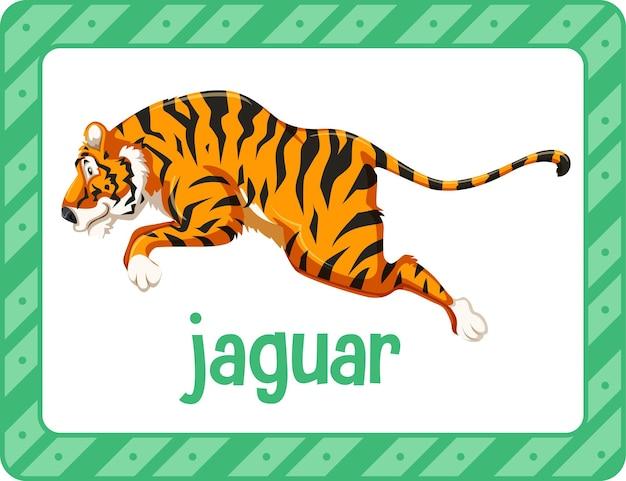 Flashcard de vocabulaire avec le mot jaguar