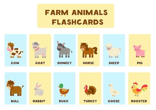 Flashcards d'animaux de ferme pour les enfants. illustrations d'animaux de la ferme avec leurs noms.