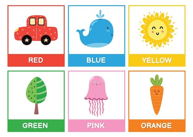 Flashcards avec illustration des couleurs principales