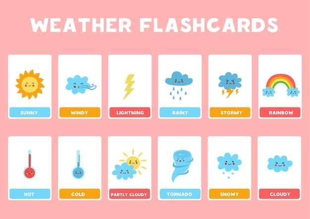 Flashcards pour les enfants avec des événements météorologiques mignons. illustration du phénomène météorologique.