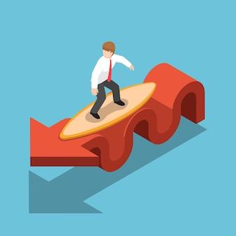 Flat 3d isométrique businessman surf avec planche de surf sur graphique rouge. marché boursier et concept financier.