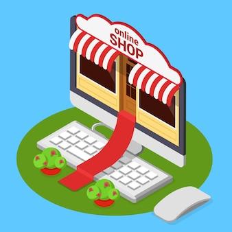 Flat 3d isométrique isométrique e-commerce internet technologie entreprise web illustration