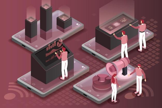 Flat 3d web isometric office room interior hommes d'affaires collaboration travail d'équipe brainstorming. collection de personnes créatives