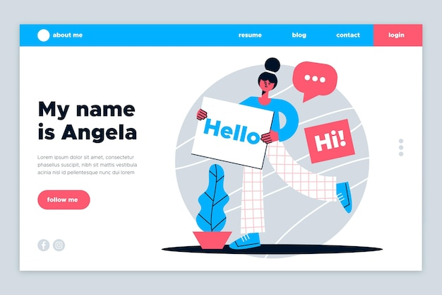 Flat about me landing page