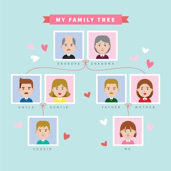 Flat arbre avec des coeurs décoratifs