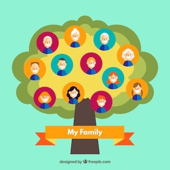 Flat arbre généalogique avec différentes générations