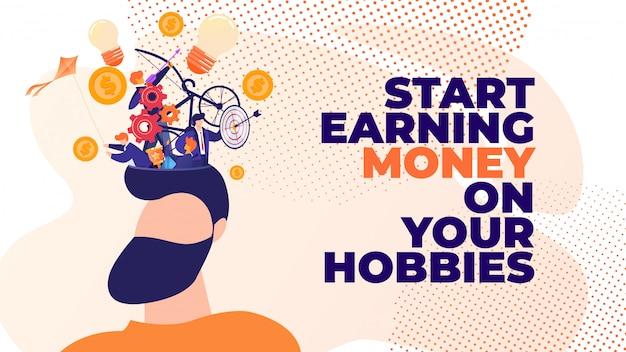 Flat banner commencez à gagner de l'argent avec vos passe-temps.