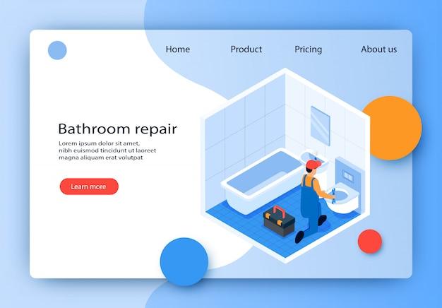 Flat banner est une réparation de salle de bains écrite isométrique.
