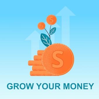 Flat banner grow money bunch cent dans une plante.