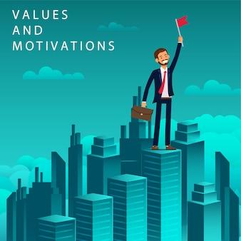 Flat banner valeurs et motivations chercheur d'emploi.