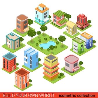 Flat d bloc de construction isométrique parc carré de petites entreprises