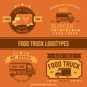Flat camions alimentaires conception logo templates
