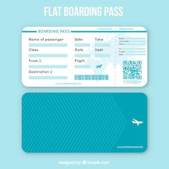 Flat carte d'embarquement avec des lignes géométriques et code qr