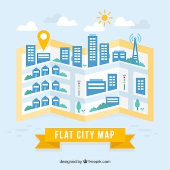 Flat carte de la ville