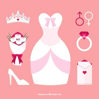 Flat collection d'éléments de mariée