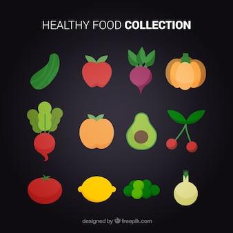 Flat collection de produits alimentaires