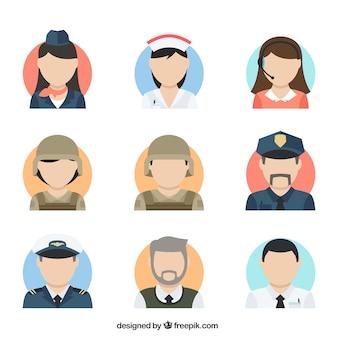 Flat colletion of professions avatars