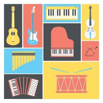 Flat design instruments de musique