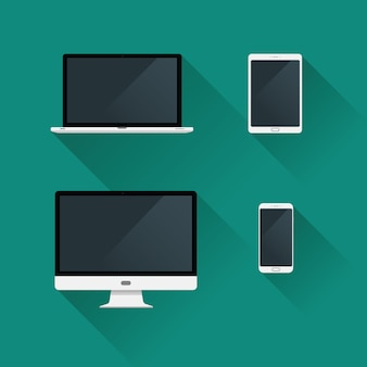 Flat gadget desktop icons set