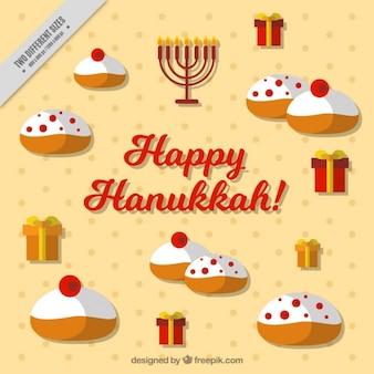 Flat hanoucca fond avec des bonbons et des cadeaux savoureux
