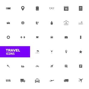 Flat icône voyage set
